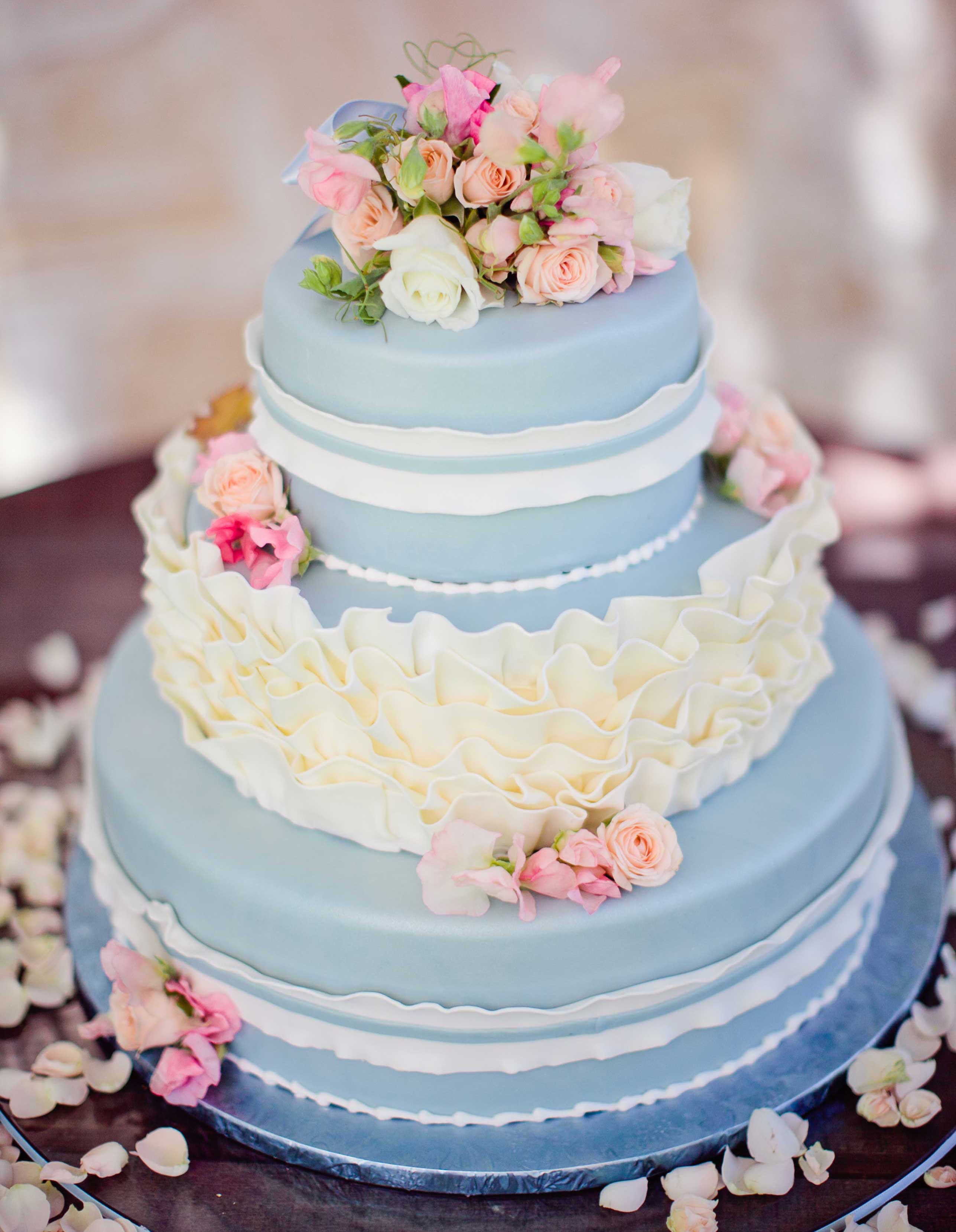 Blue small three tier wedding cake