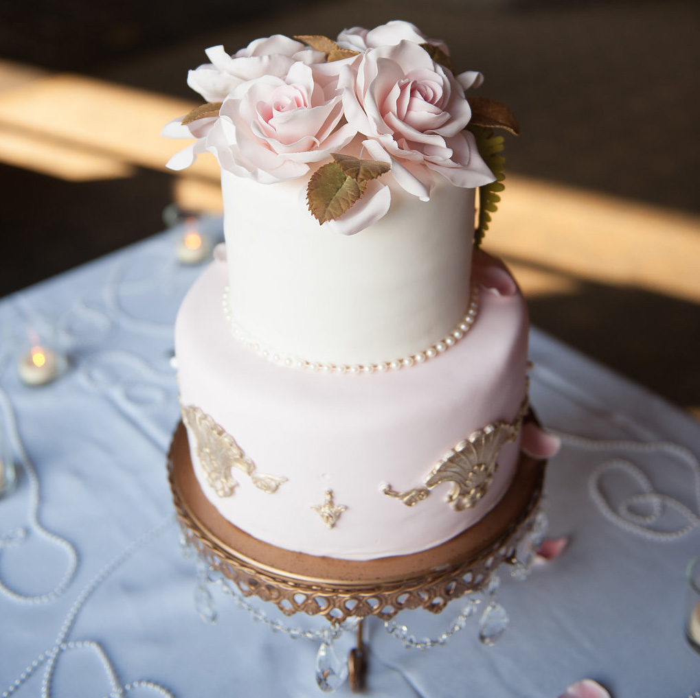 Pink and gold small wedding cake