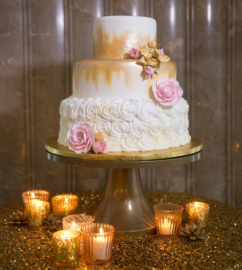 Wedding cake ideas small one two and three tier cakes inside white and gold small wedding cake junglespirit Choice Image