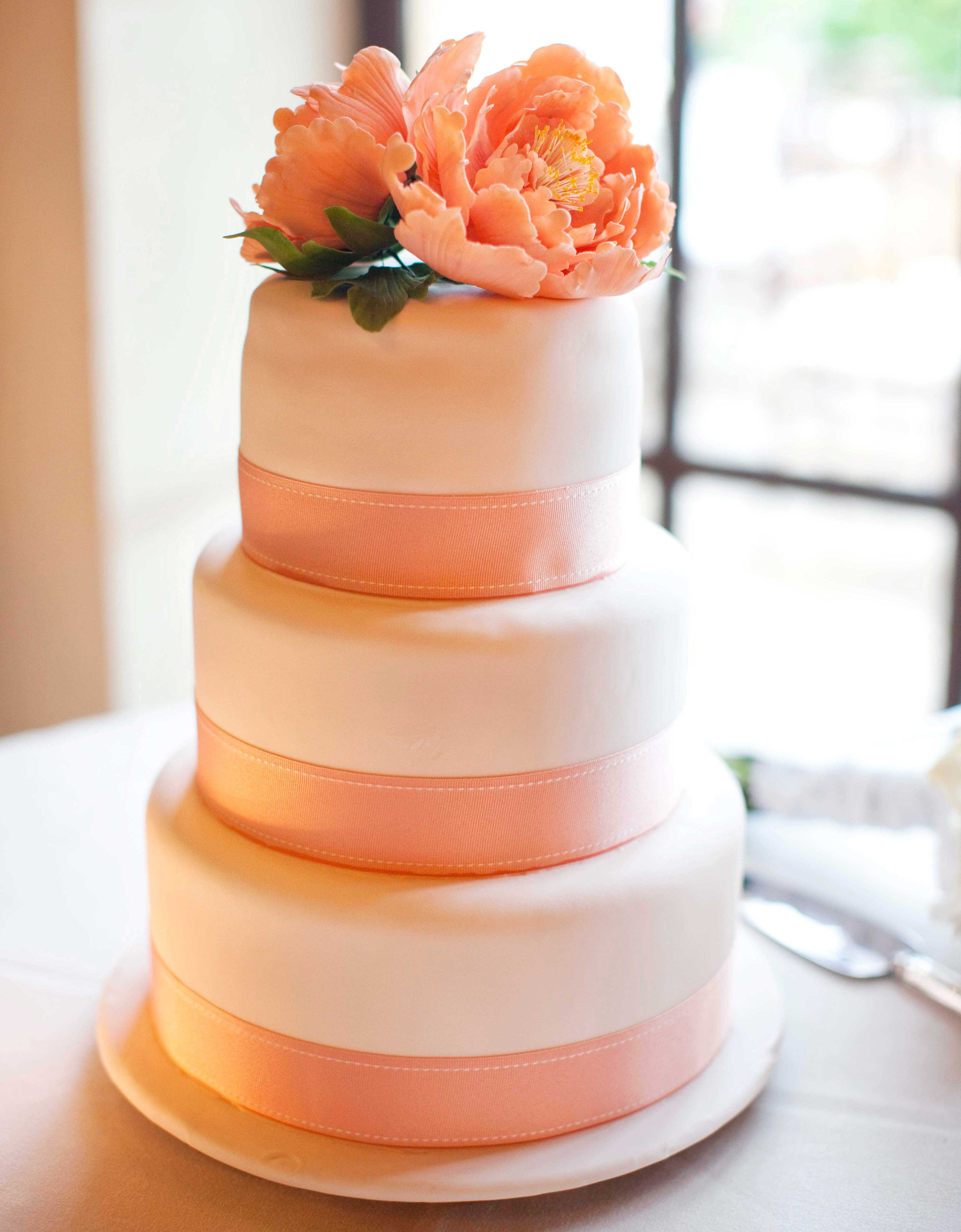 white peach and gold wedding cake wedding cake ideas small one two and three tier cakes 27306
