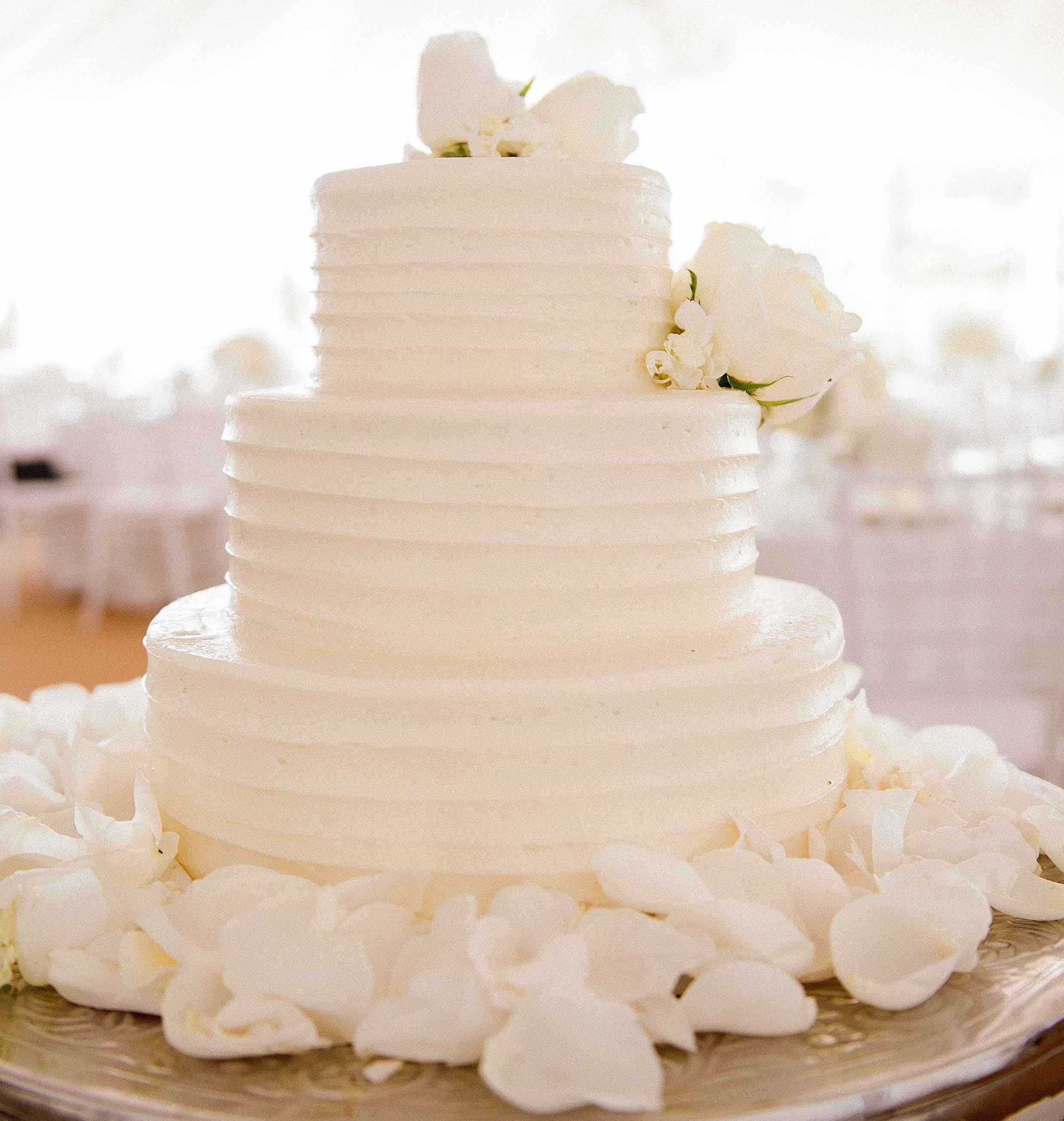 White wedding cake with ridges