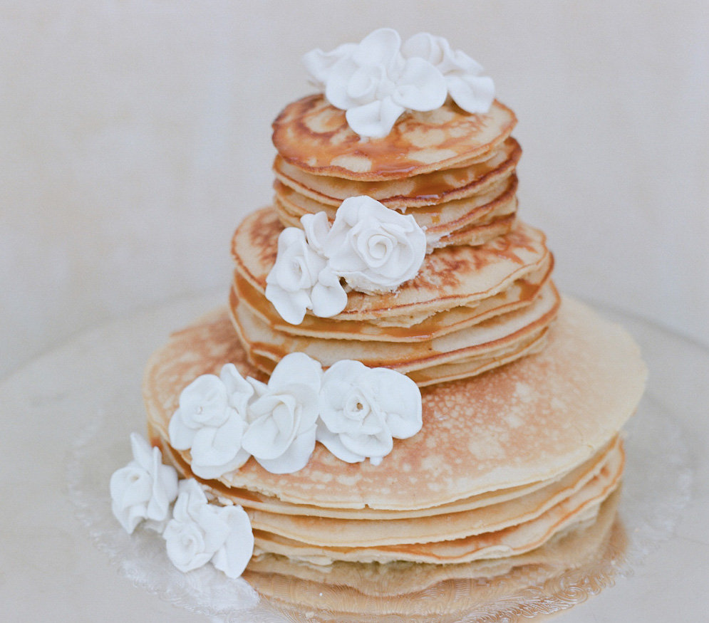 Wedding cake ideas small one two and three tier cakes unique small pancake wedding cake junglespirit Choice Image