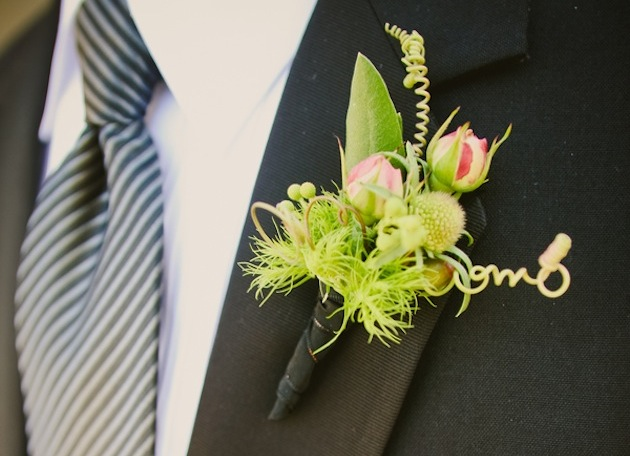 Wedding flower ideas unique grooms boutonnieres inside weddings whimsical lime green wedding boutonniere junglespirit Images