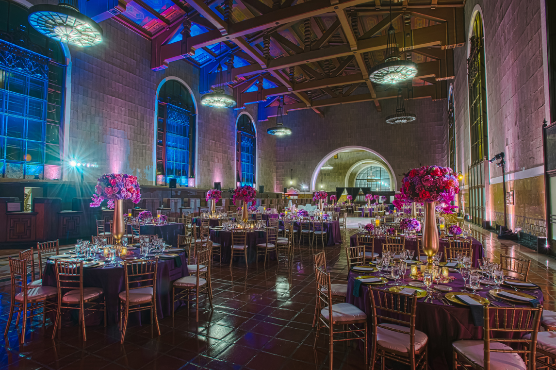Vibrant Purple Blue Celebration At Union Station In Los Angeles