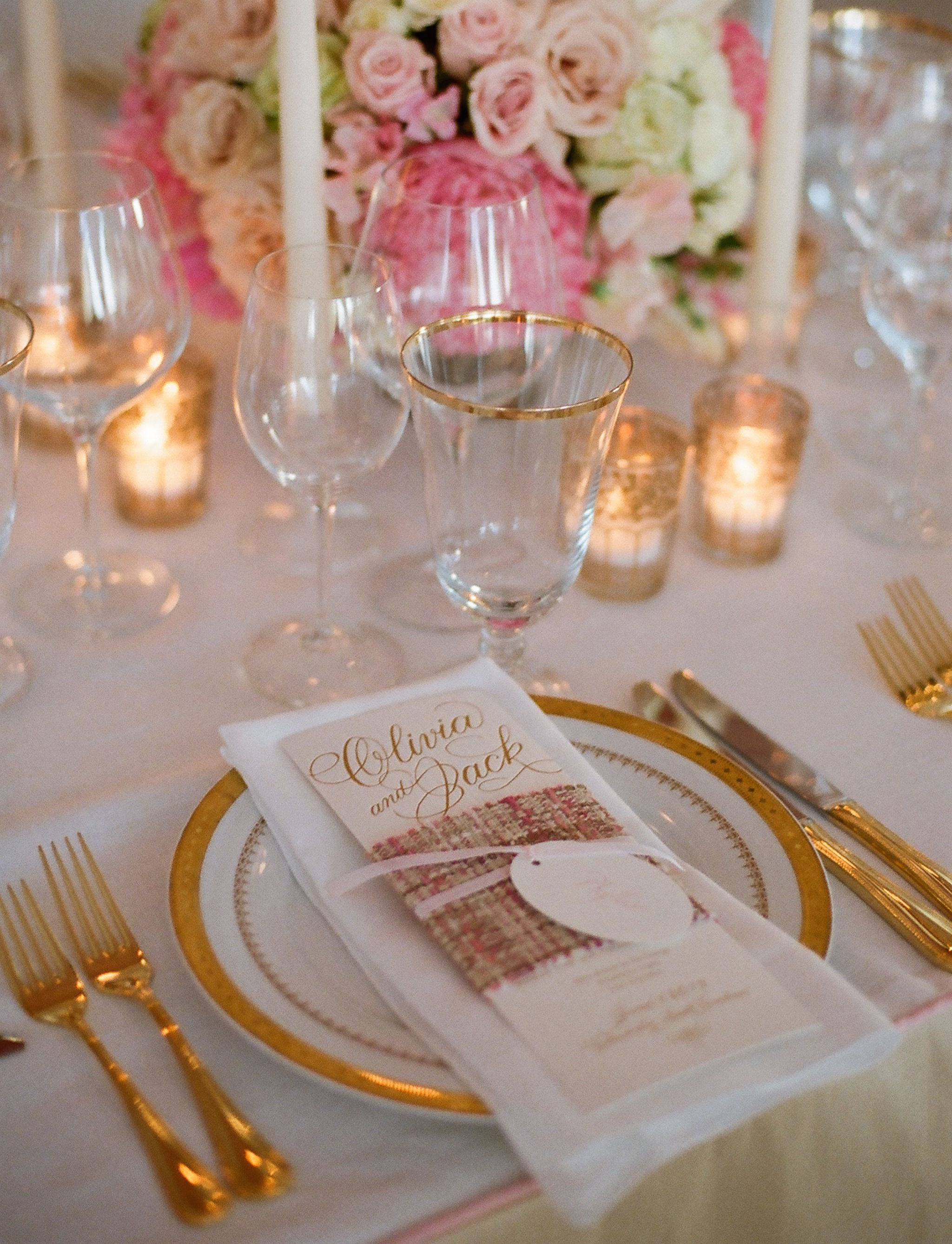 Gold flatware and pink and white wedding
