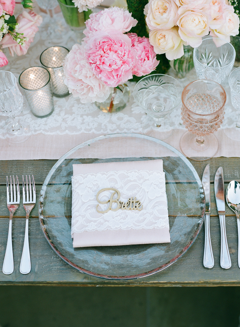 Pretty laser cut place setting at wedding