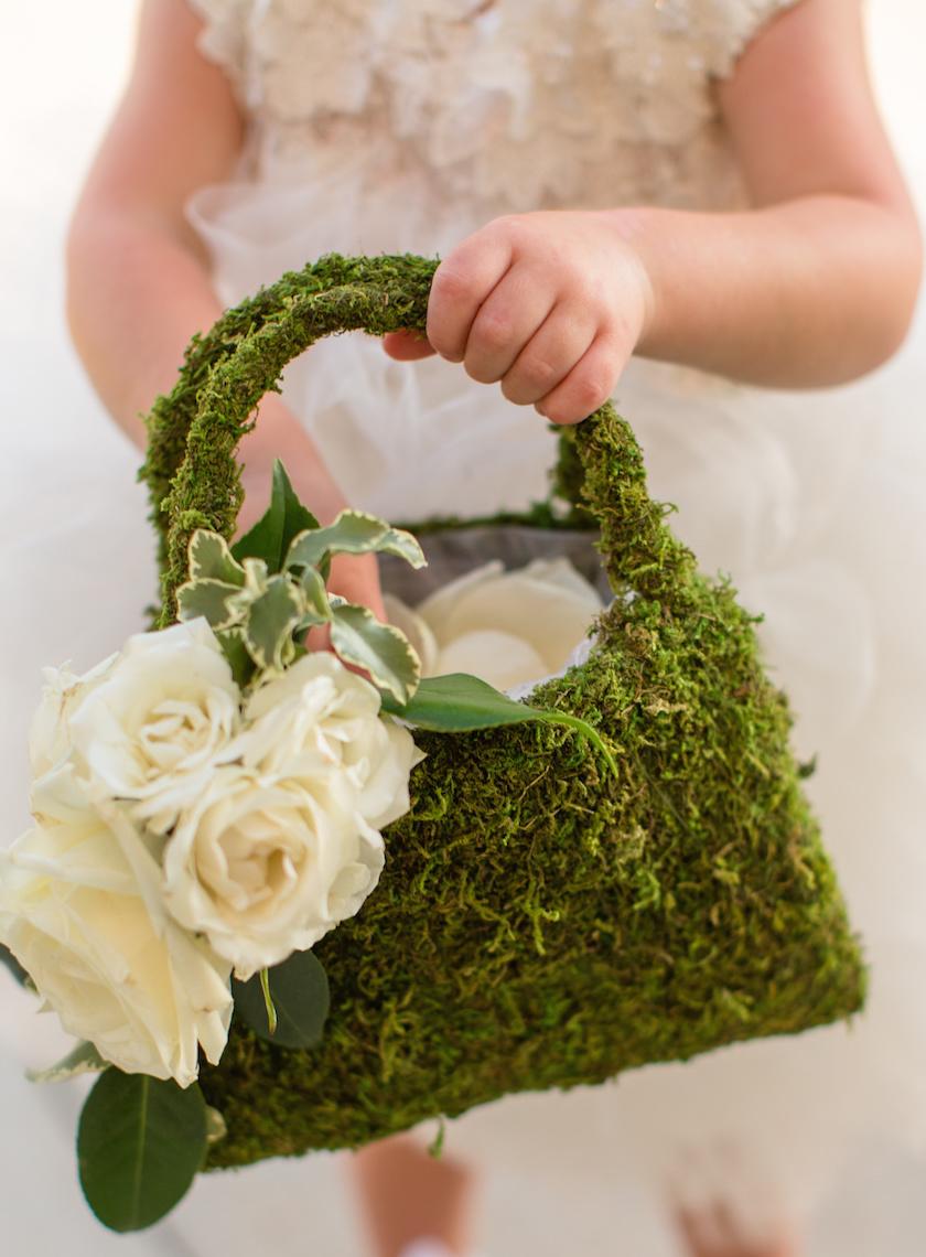 Flower Girl Basket Moss : Green wedding theme ideas inside weddings