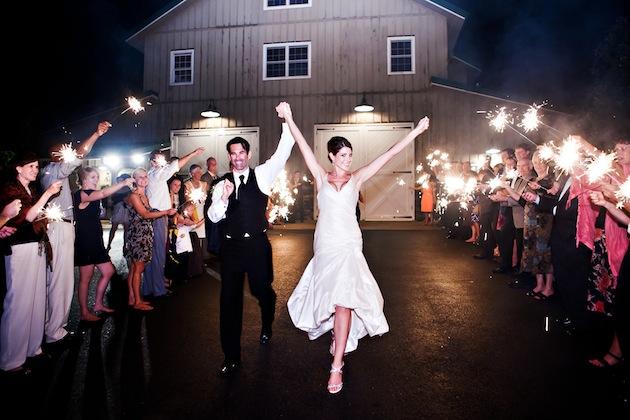 Barn wedding reception sparkler exit
