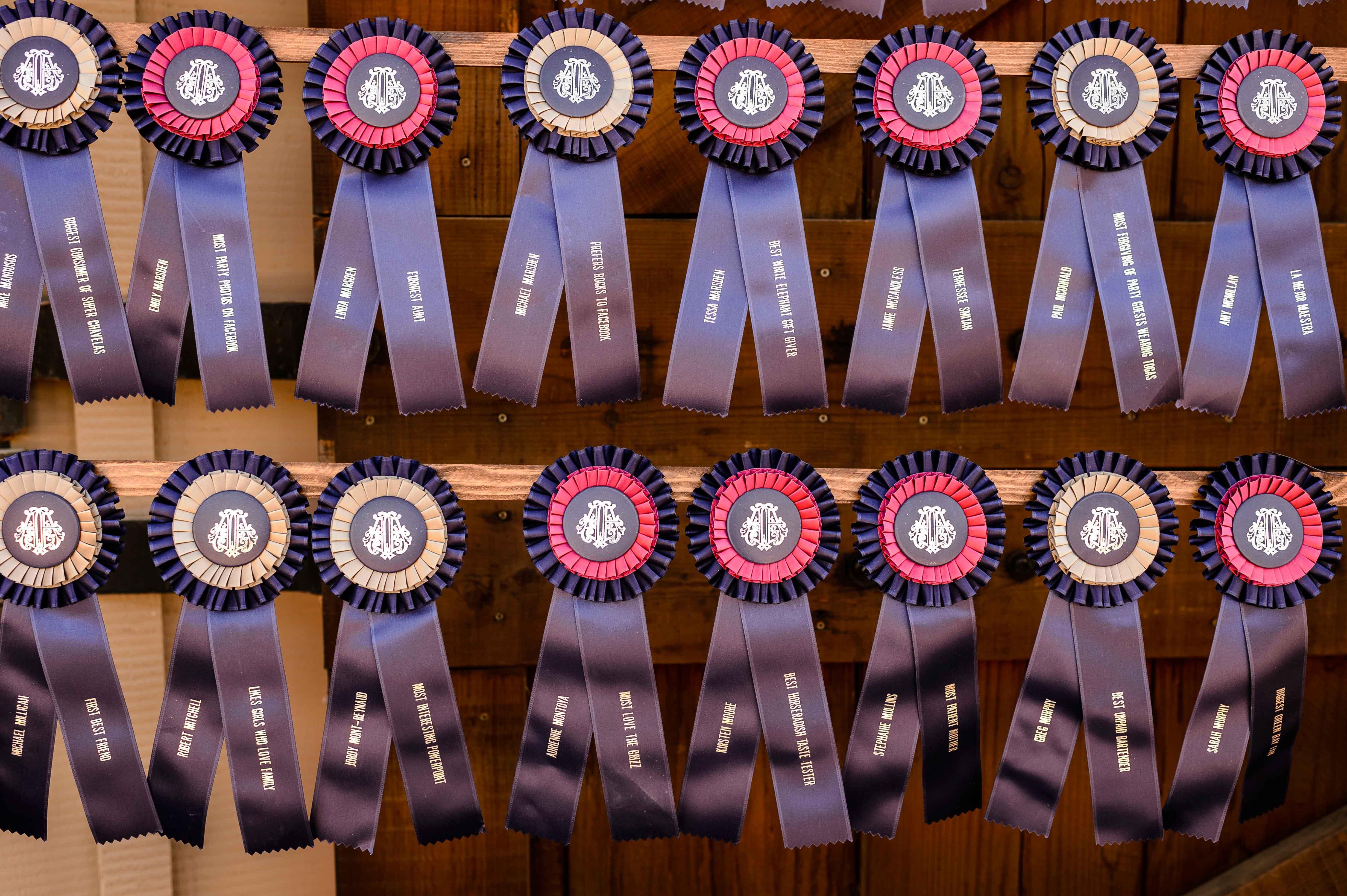 Horse show ribbon escort cards