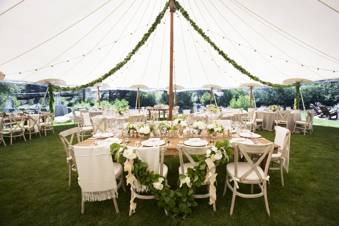 Green garlands on bride and groom chairs & Wedding Ideas: 8 Ways to Use Greenery in Decorations - Inside Weddings