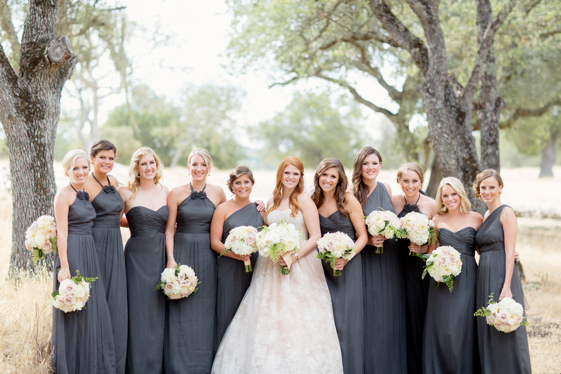 bridesmaids different dresses same color grey - Bridesmaid Dresses Same Color Different Style