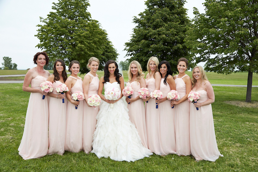 Bridesmaids different dresses same color pink long styles
