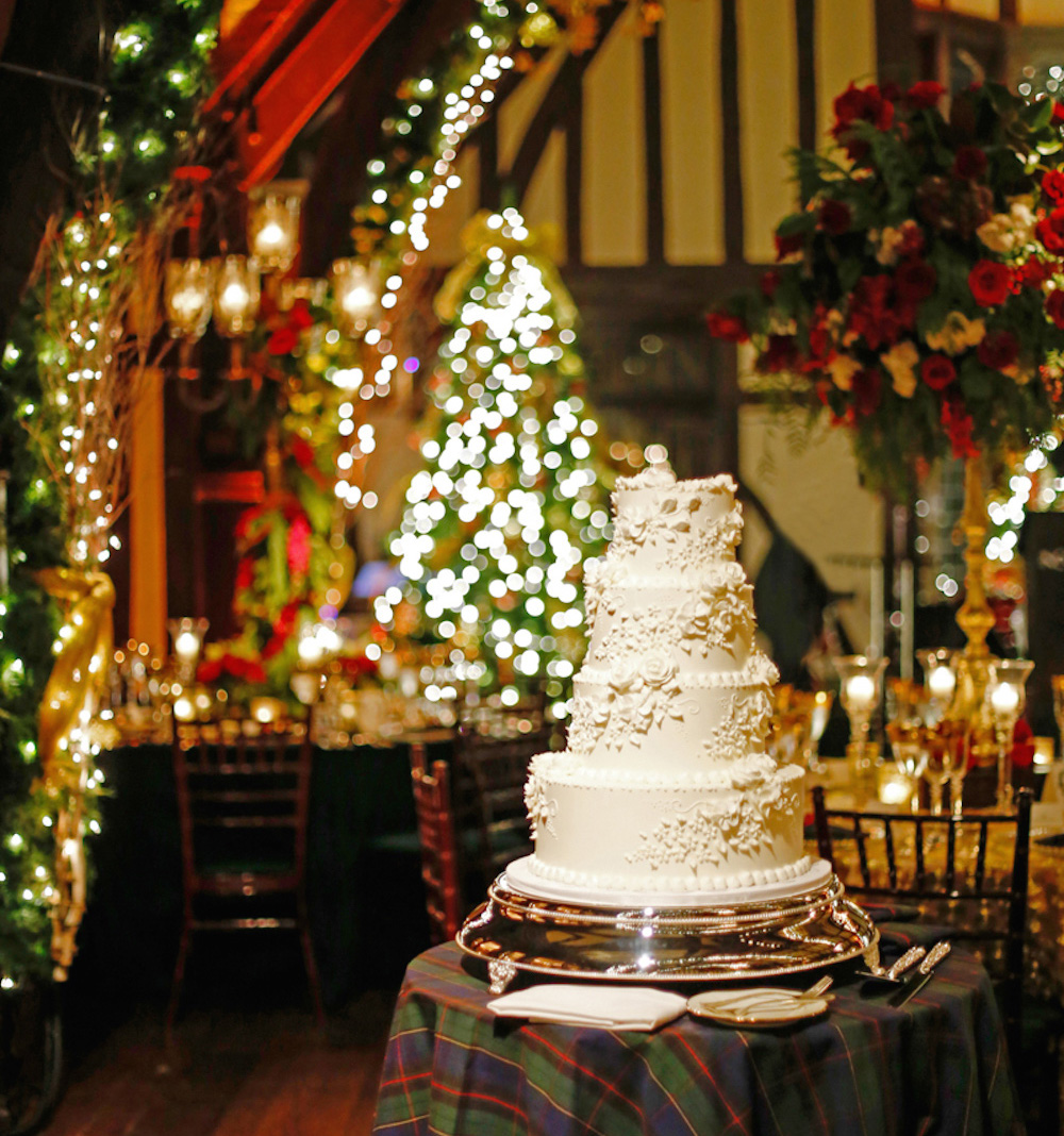 Wedding cake in Christmas theme reception room