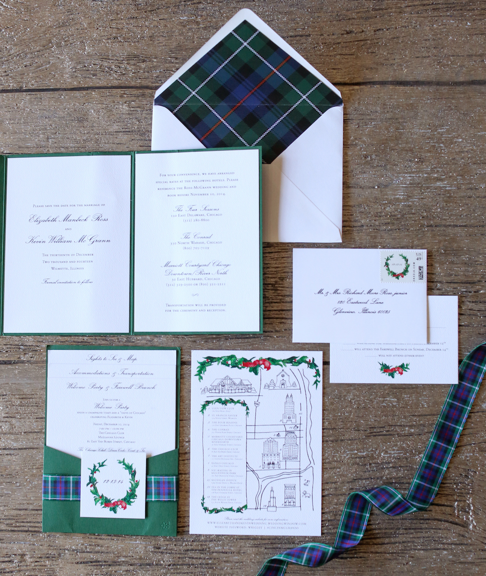 Festive plaid winter wedding invitation suite