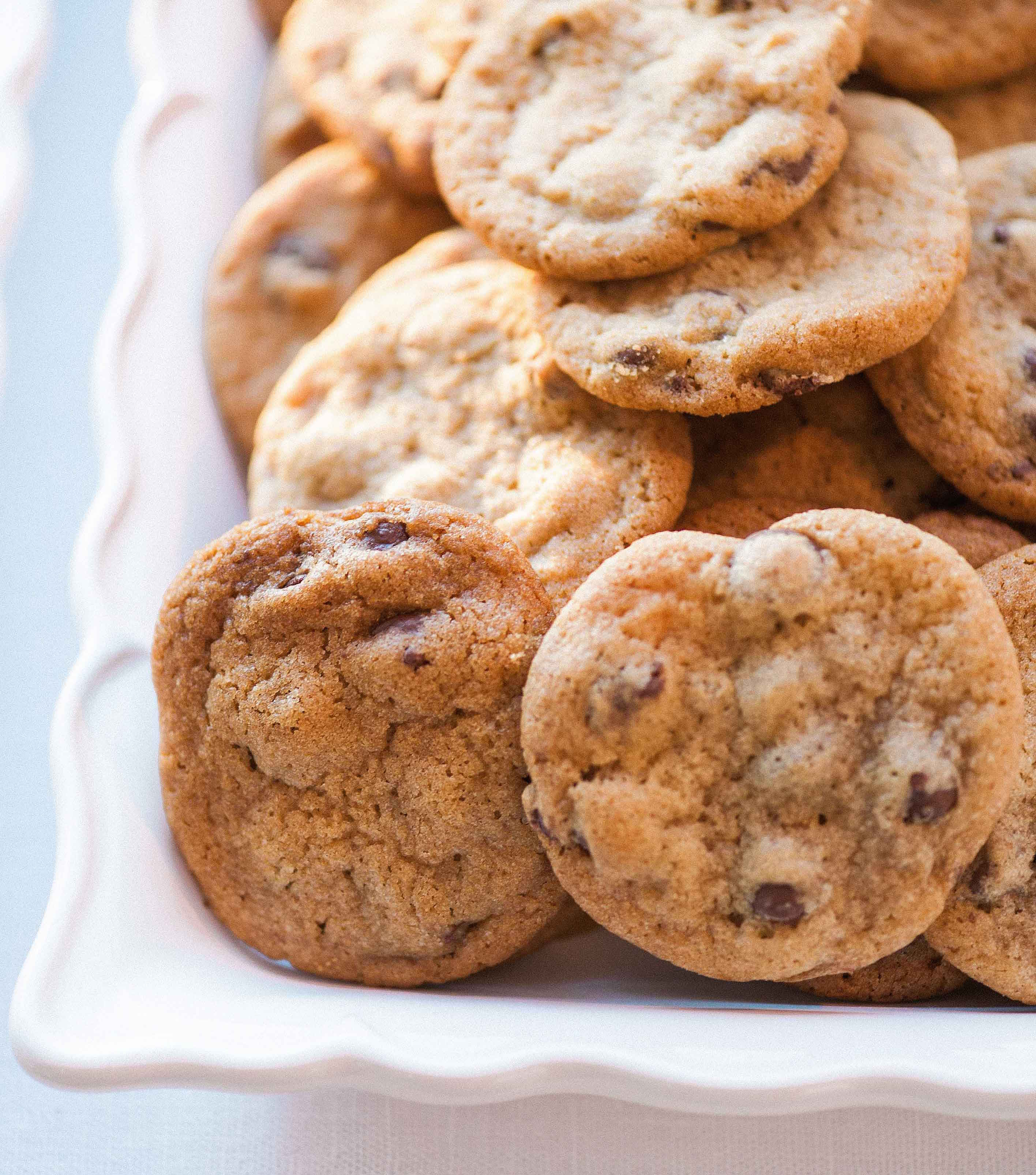 Chocolate chip cookies on white platter
