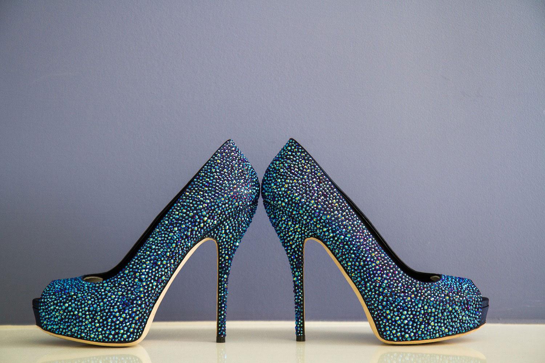 Blue crystal wedding shoes