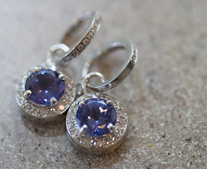 light blue purple wedding day earrings