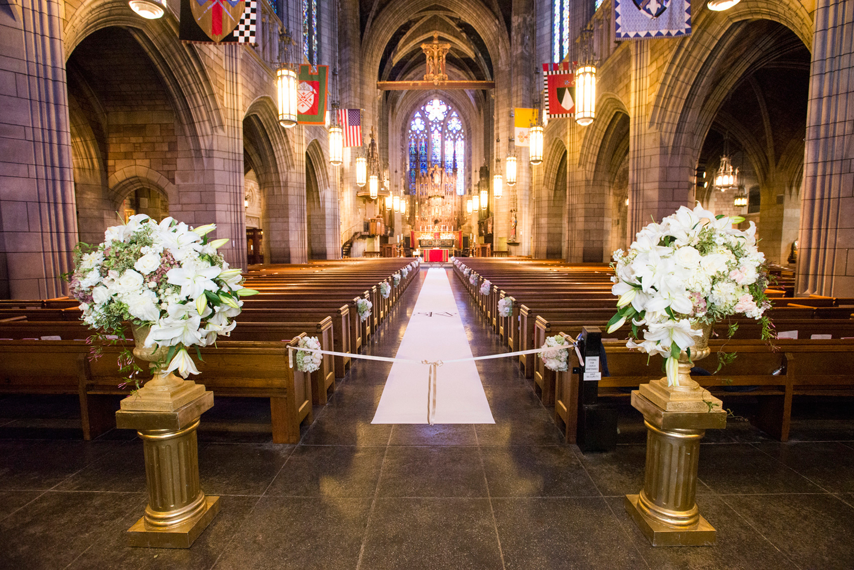 Church Wedding Ceremony With Custom Aisle Runner