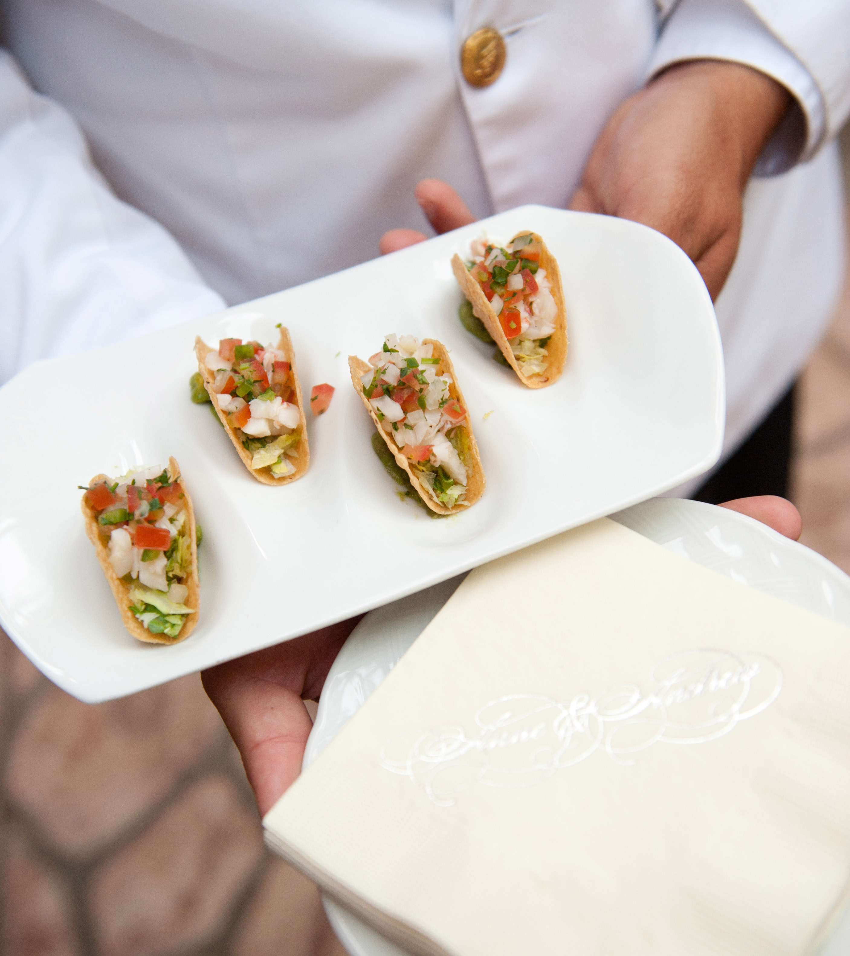 Miniature bite size taco hors d'oeuvres