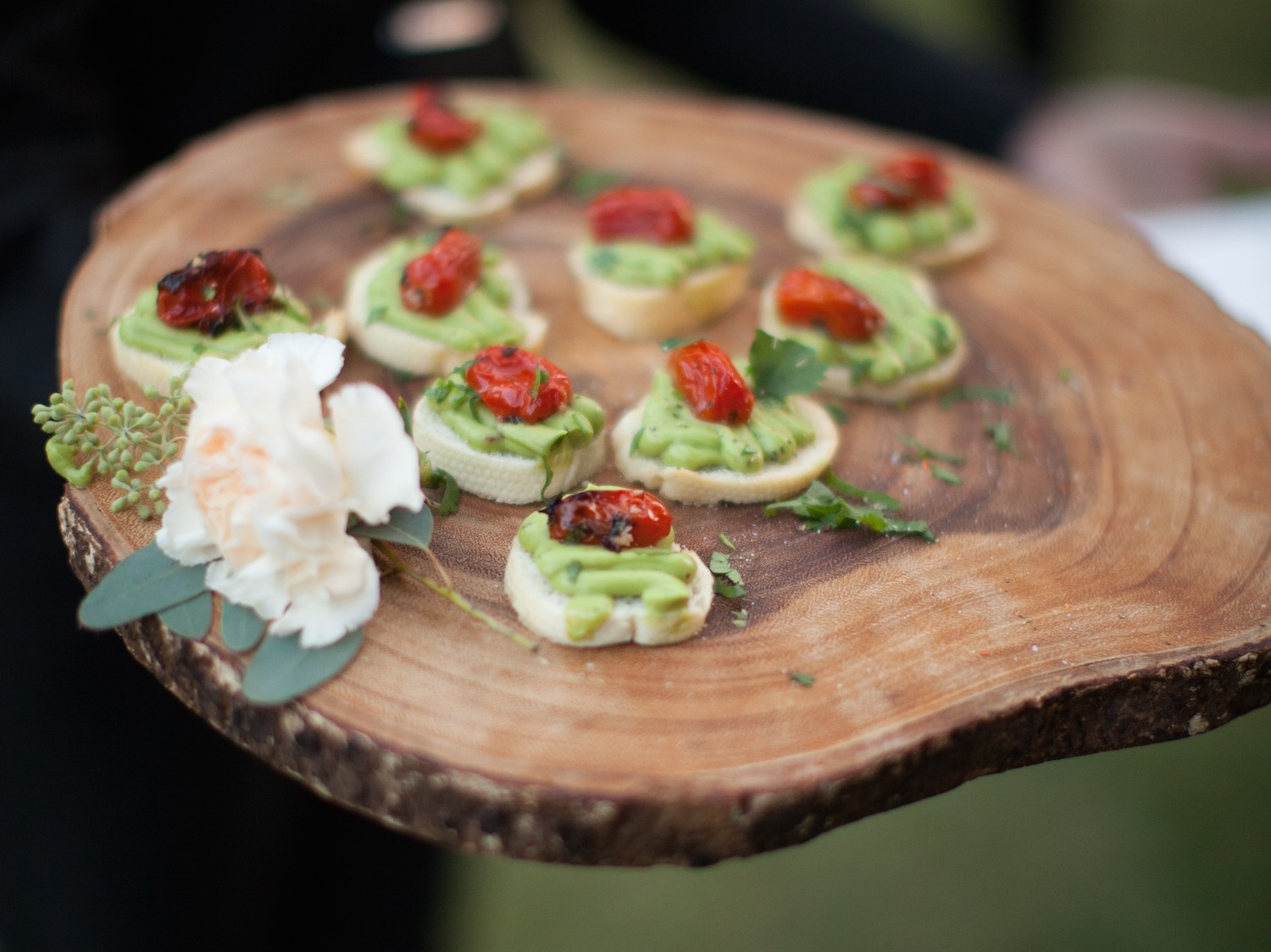 Crostini appetizer on natural wood block