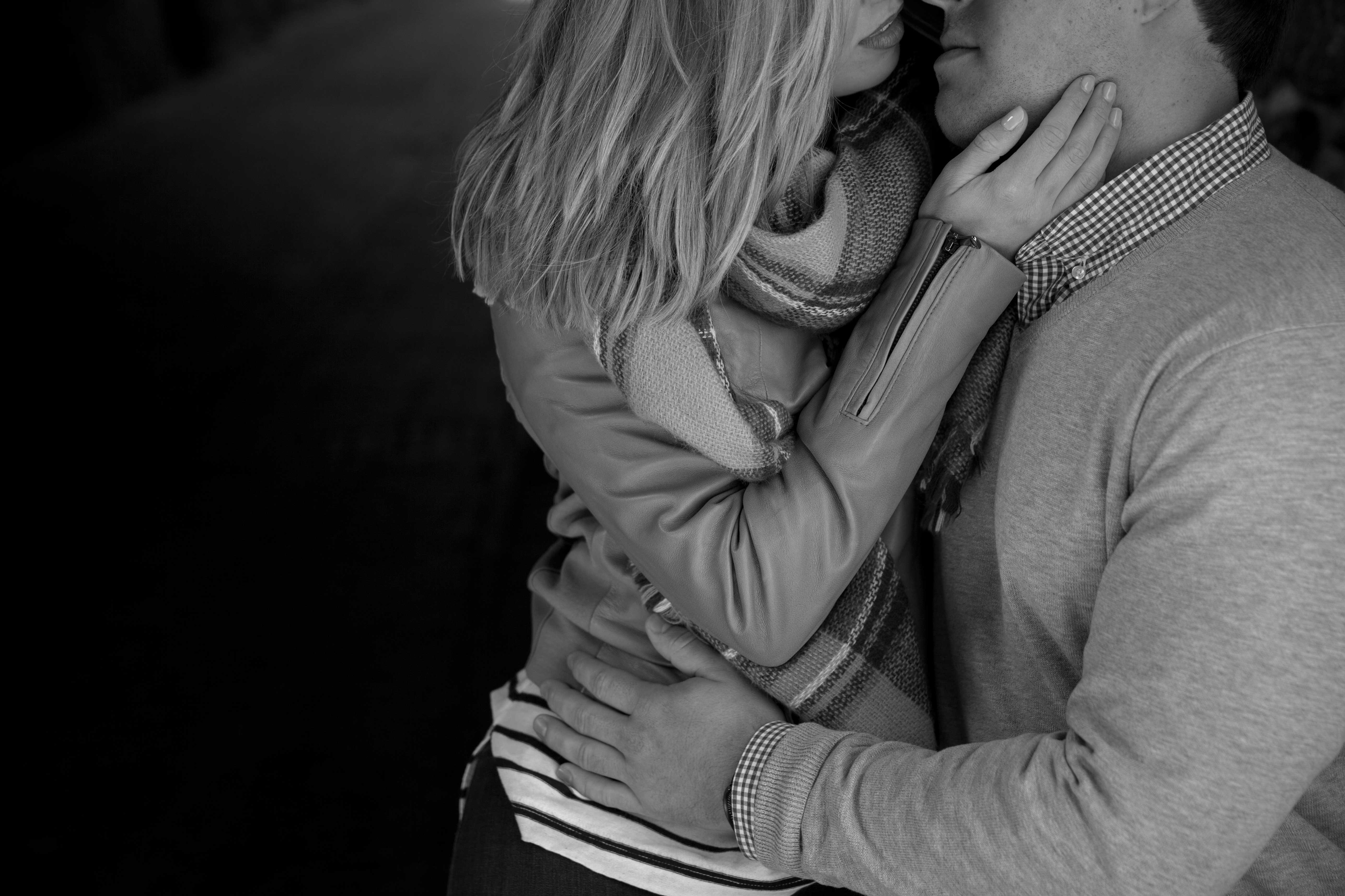 Close up black and white engagement shoot photo