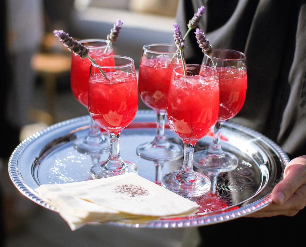 Lavender sprigs in wedding cocktail