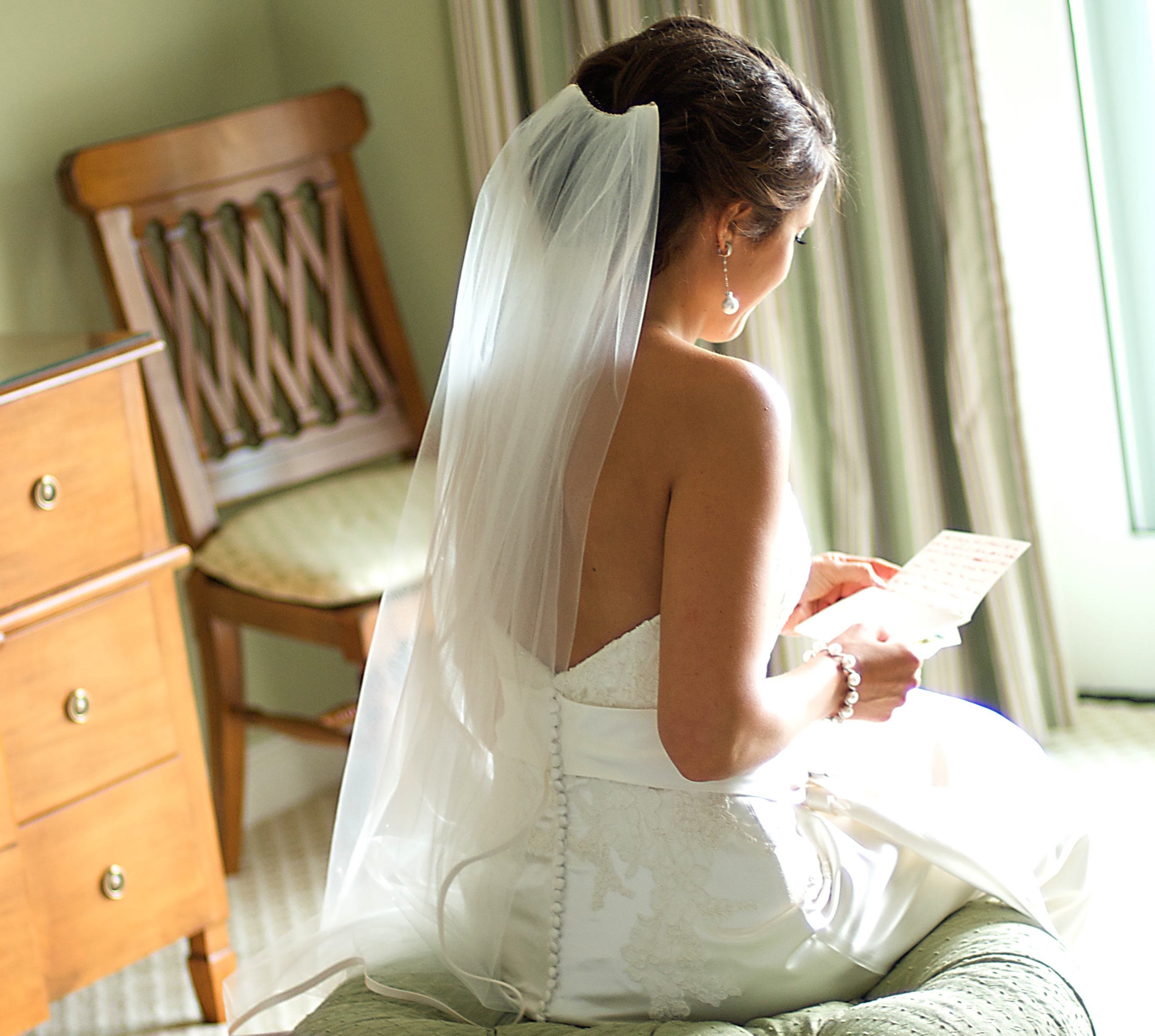 bride reading love letter on wedding day