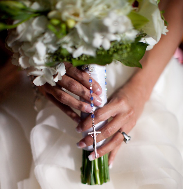 rosary wedding bouquet something blue