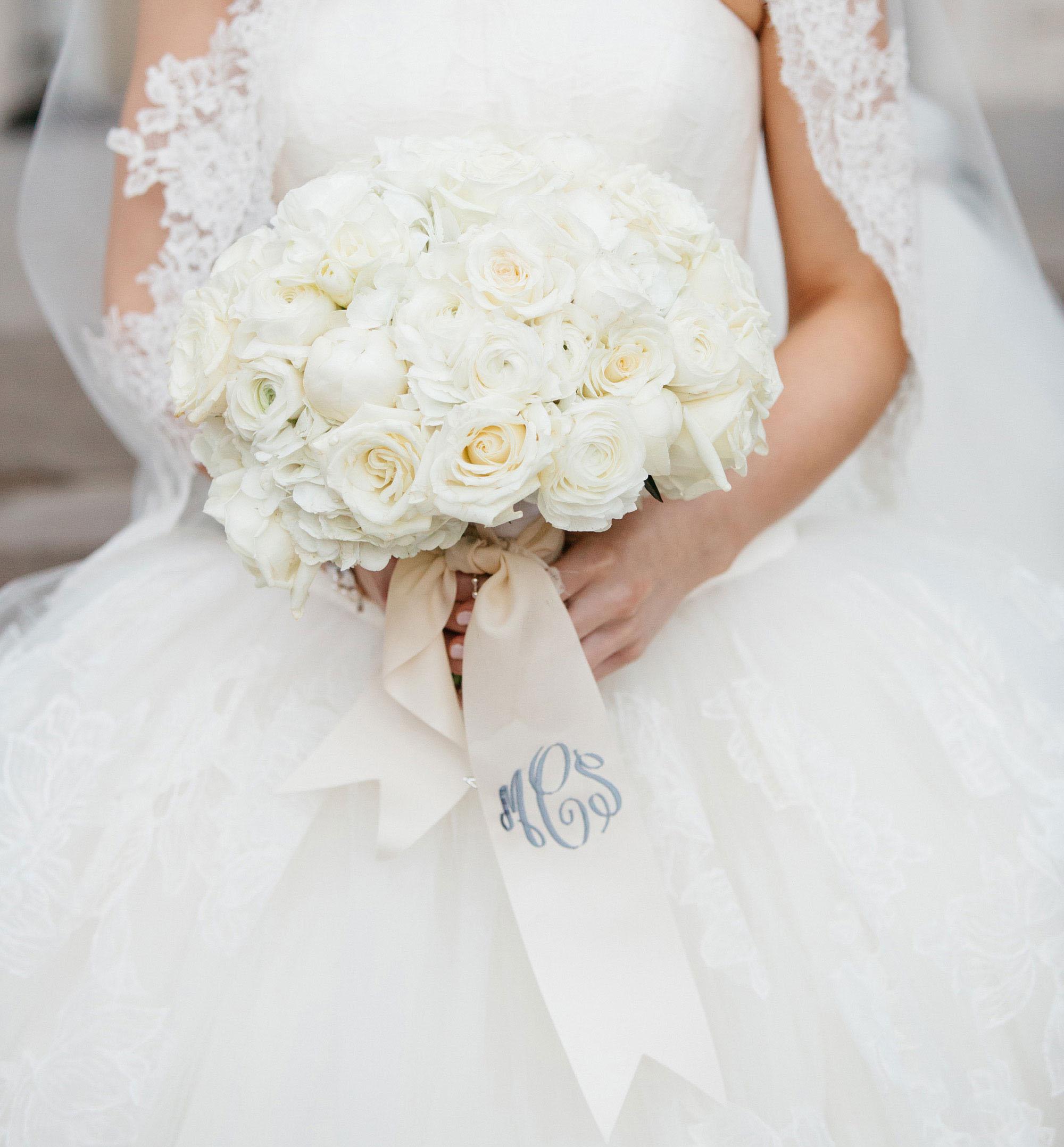 wedding bouquet monogram something blue