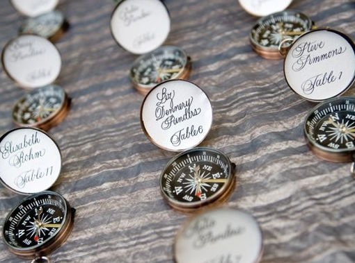 Calligraphy on compasses for nautical-theme wedding