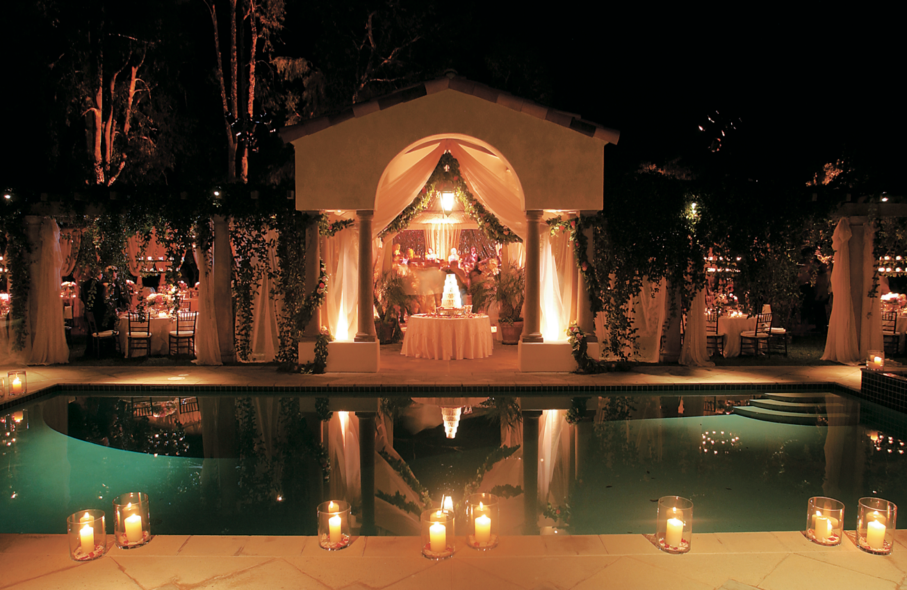 candles by pool candlelight backyard wedding