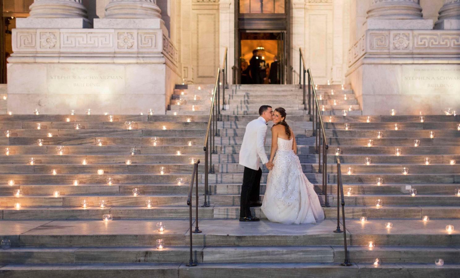 wedding portraits candles candlelight candlelit new york public library