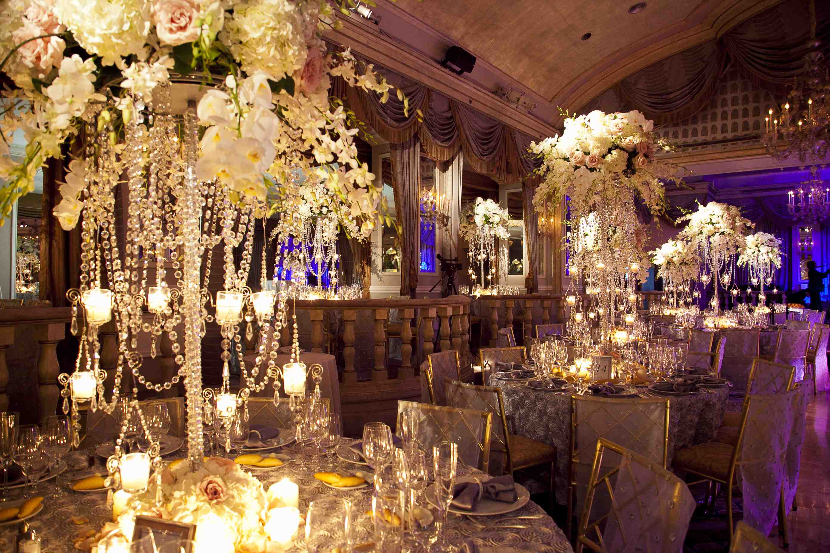 chandelier centerpieces candles wedding reception candlelight