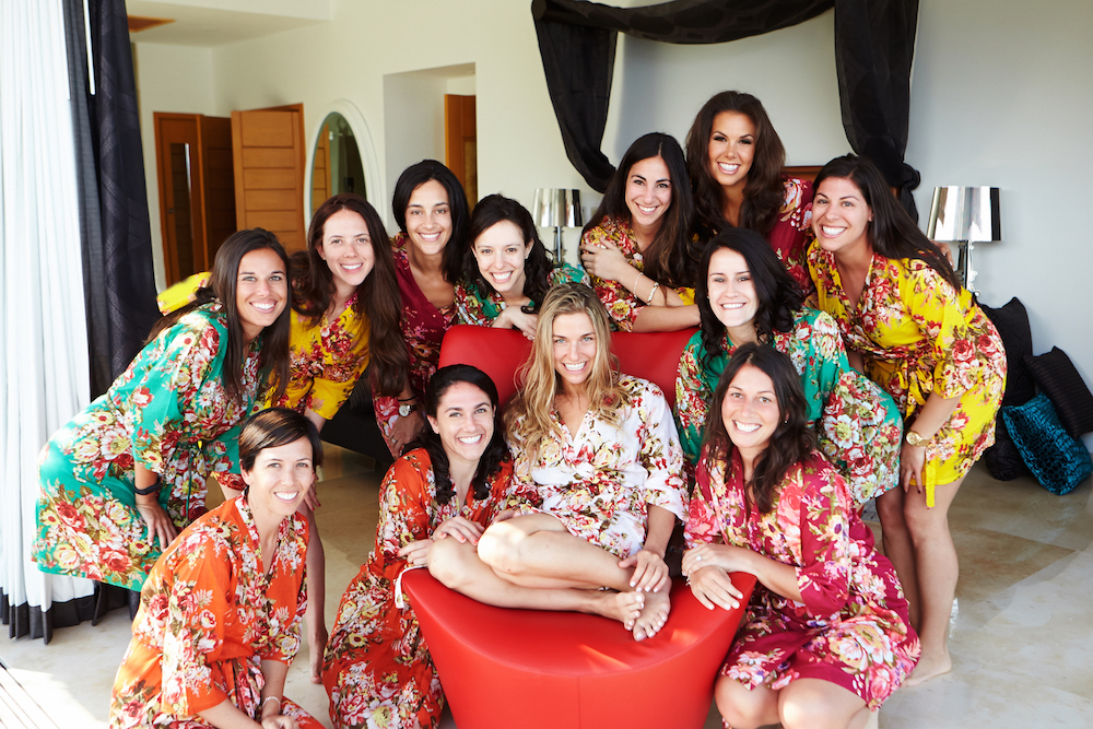 Bridesmaids in flower print robes