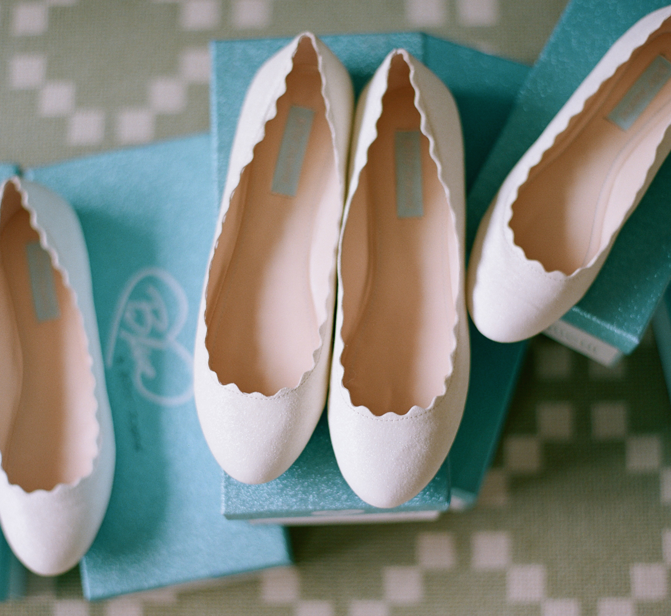 Bridesmaid gifts flats in blue boxes