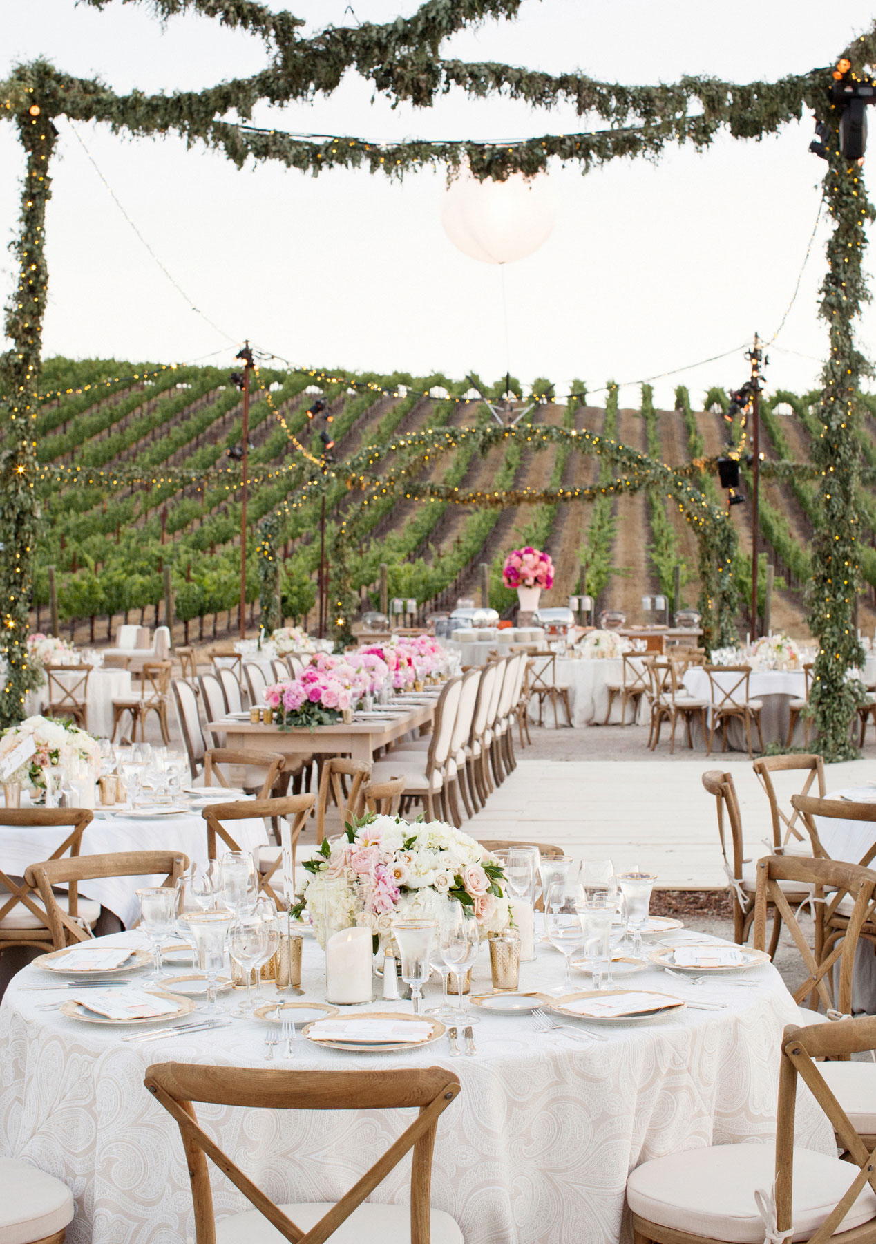 Italian bistro cafe string light rental for wedding reception in - Winery Vineyard Wedding With String Lights At Reception