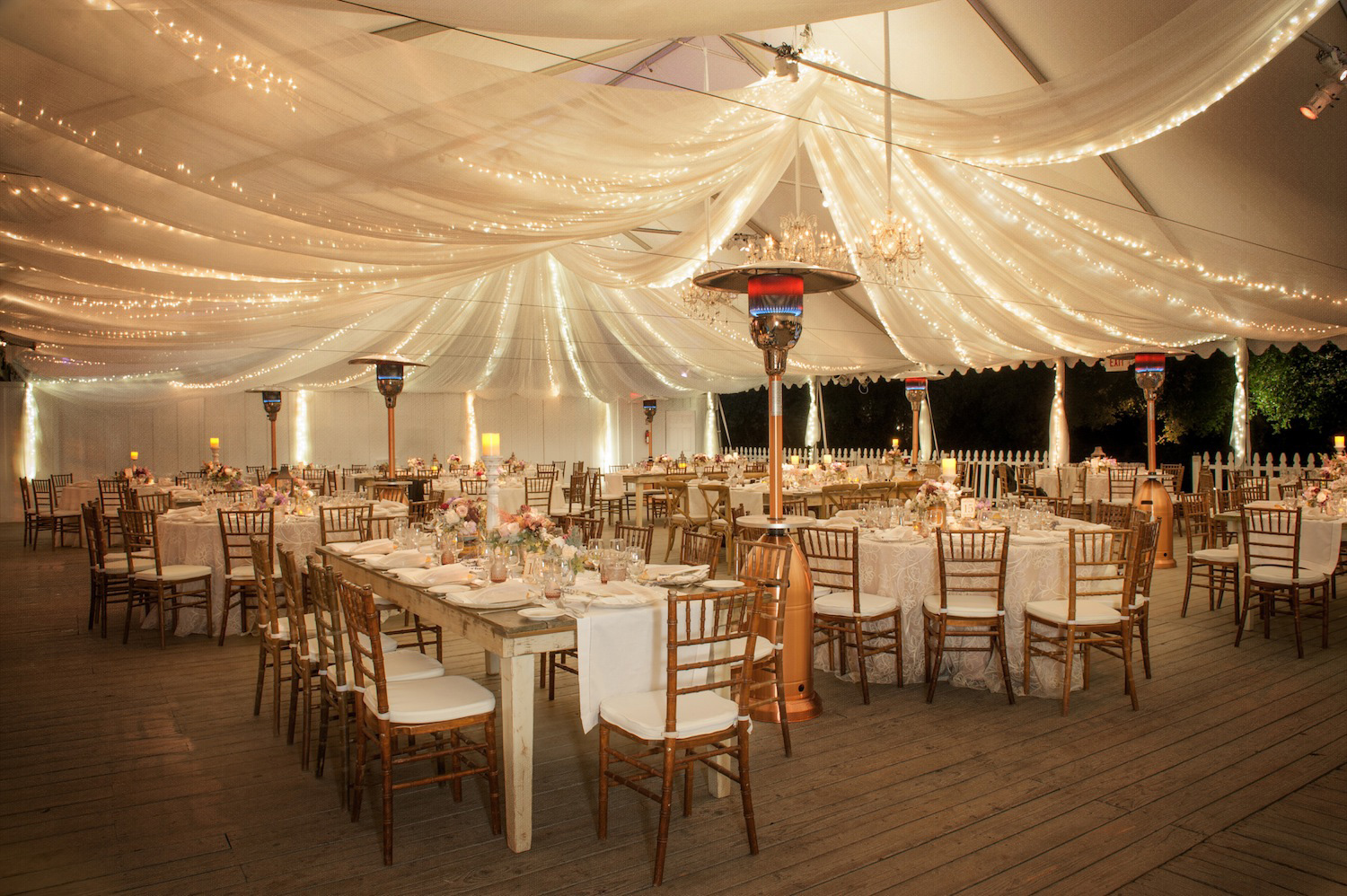Rustic Shabby Chic Wedding With String Lights At Reception