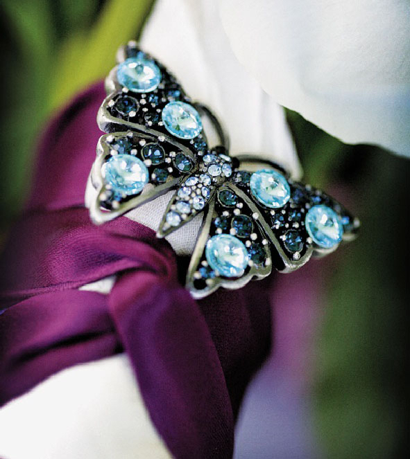 butterfly brooch bouquet wedding something blue
