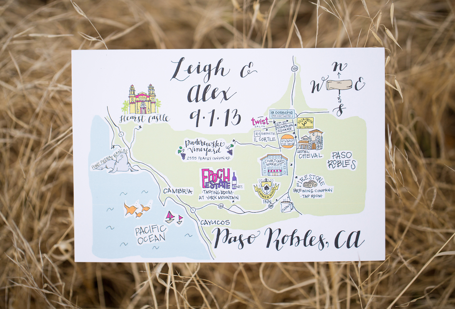 Exceptional Paso Robles Map Wedding Invitation