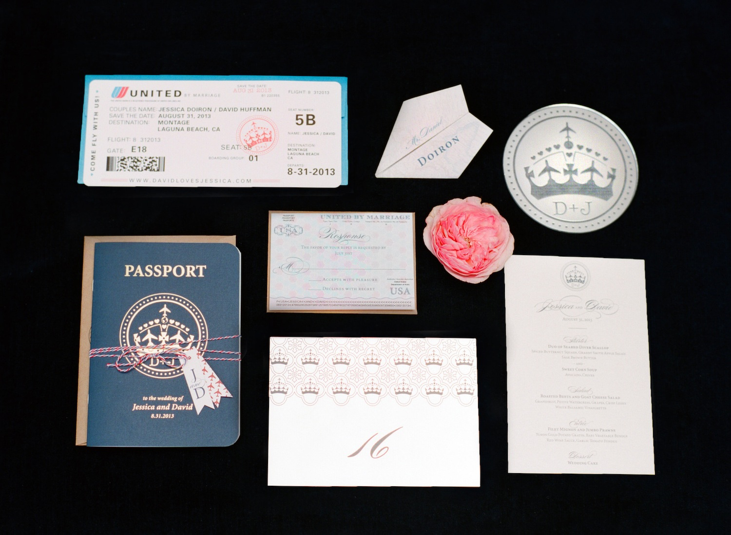 passport airplane ticket travel themed wedding invitation