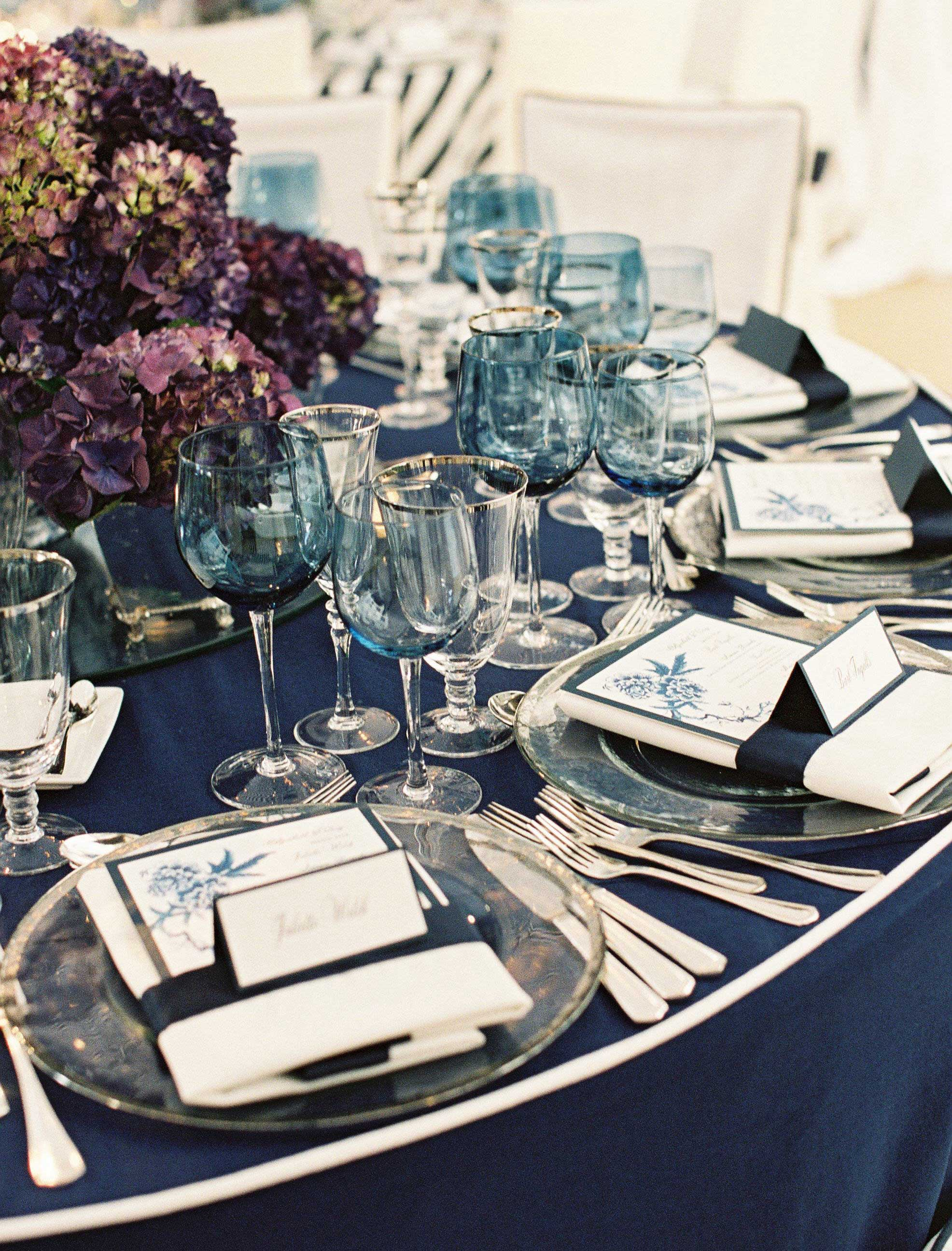 Light blue glassware at rehearsal dinner