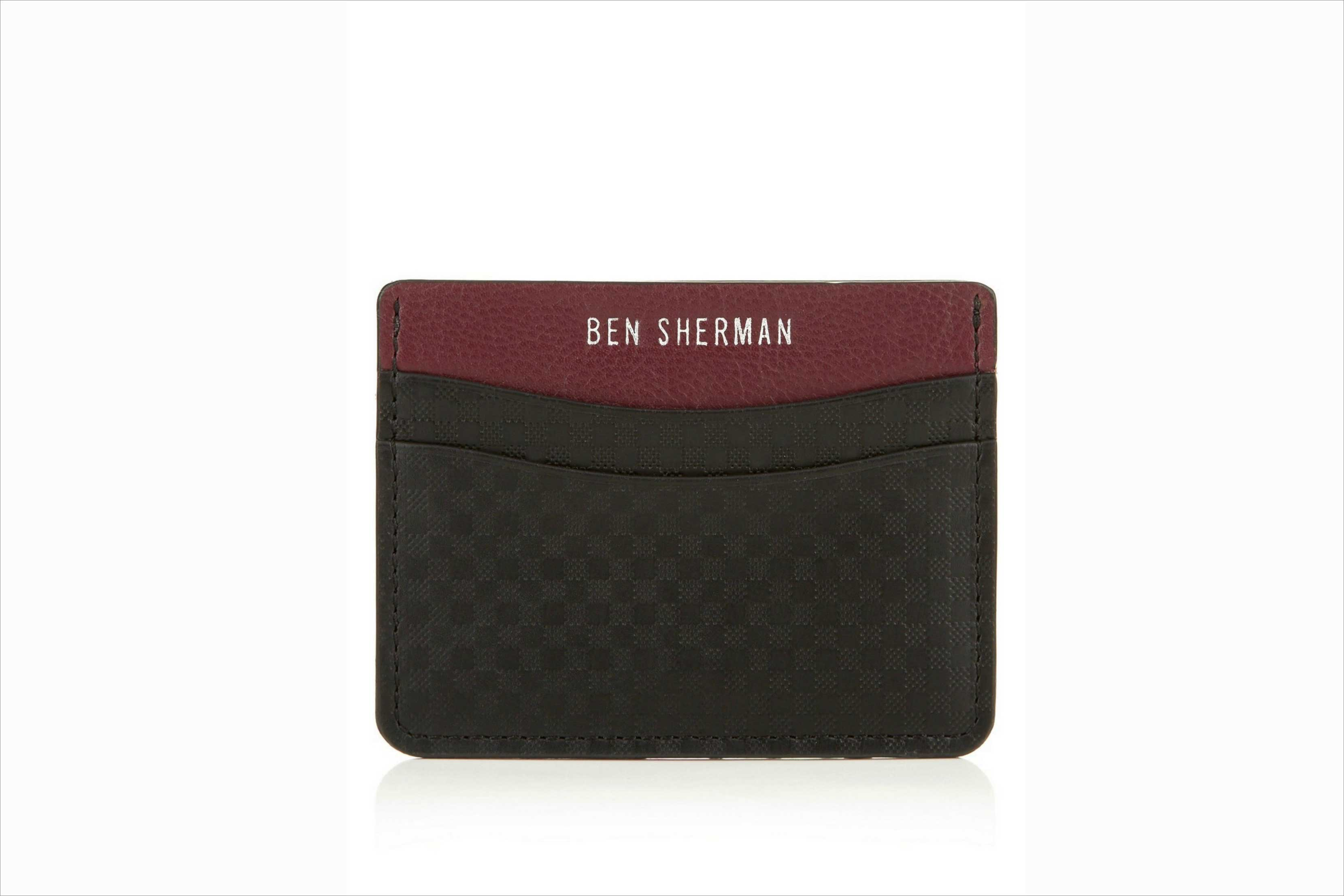 Ben Sherman Gingham Emboss Card Holder in red and black