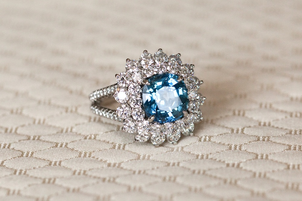 retro vintage inspired aquamarine engagement ring