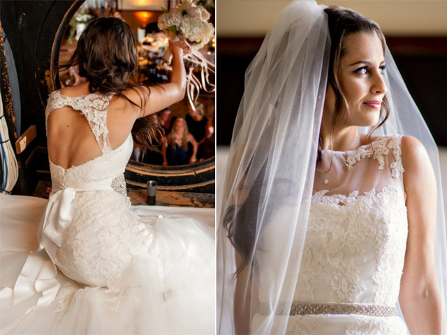 front and back view of a bride in a lace wedding gown with illusion neckline and keyhole back