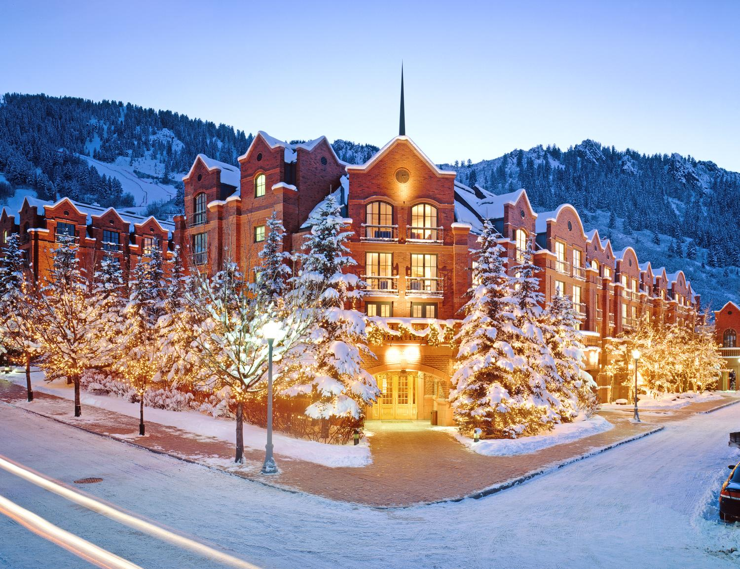 St Regis Aspen resort in the snow