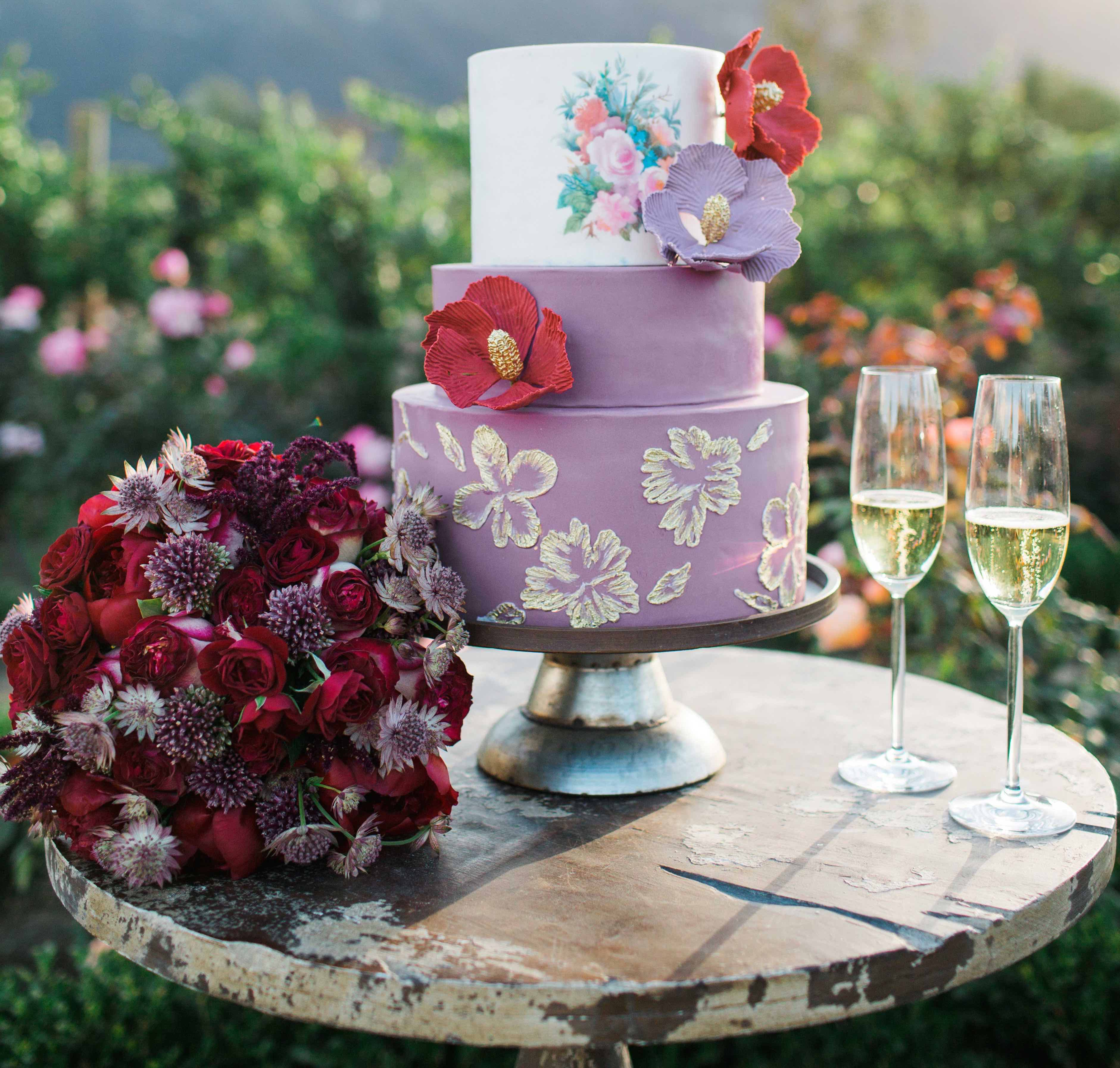 colorful wedding cake with different top tier