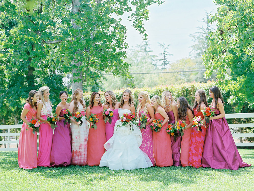 Multicolored mismatched pink bridesmaid dresses