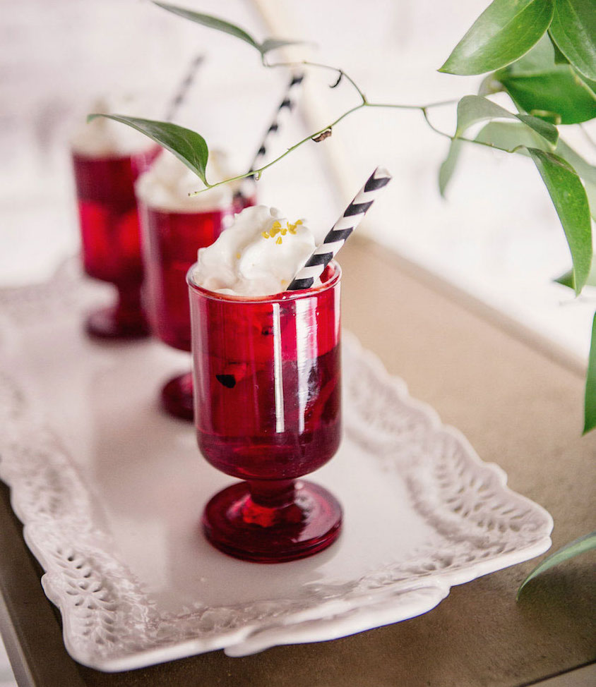 Red footed cups with striped straws
