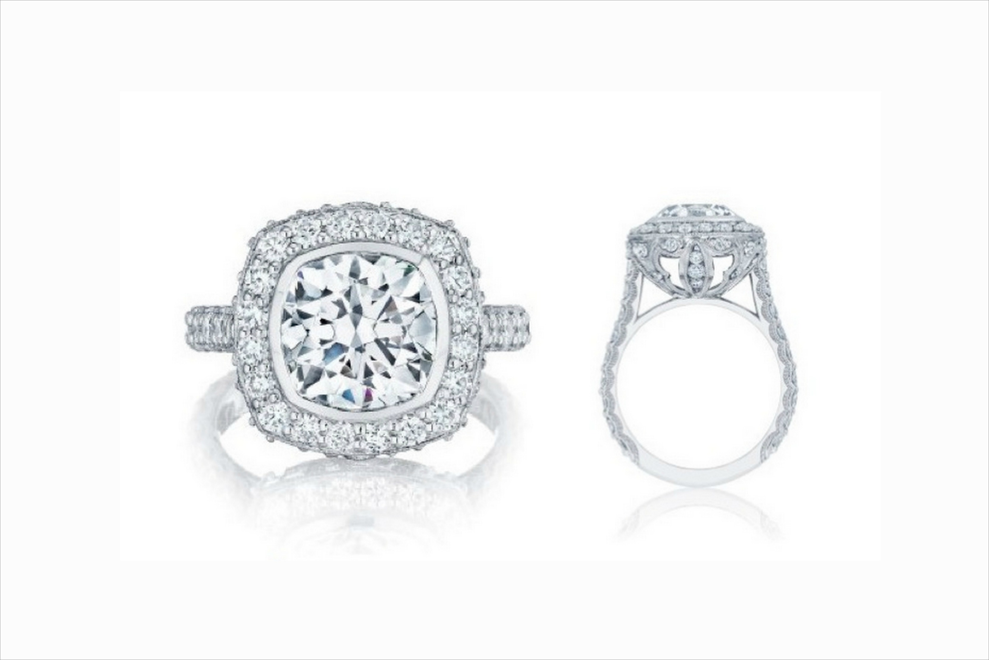 bridal two barin radiant accented platinum ring w michael stone side diamond center stones emerald cut