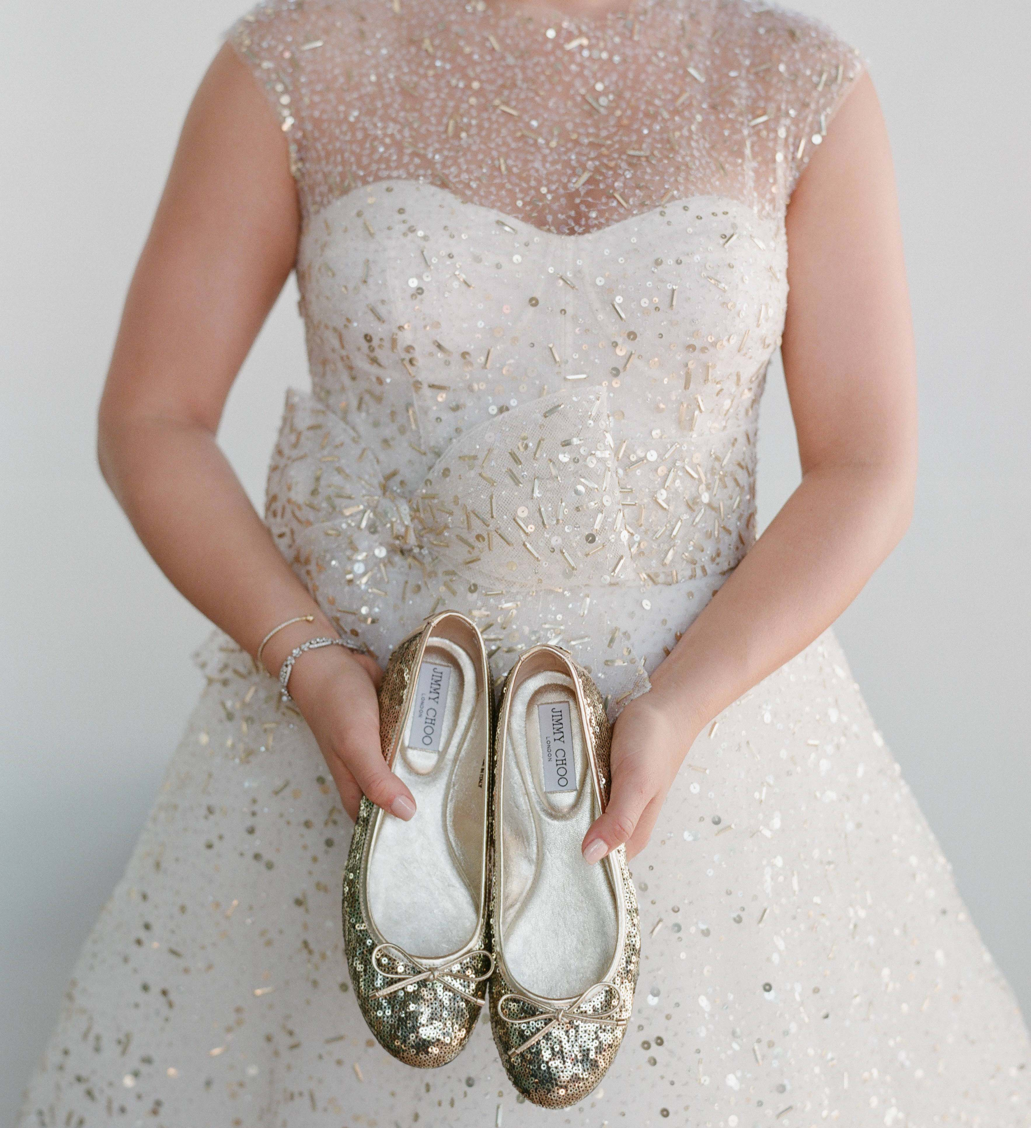 Sparkl Gold Jimmy Choo Ballet Flats For Wedding
